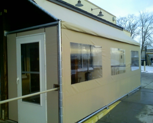 VCP(Vinyl Coated Polyester) Enclosure with Storm Door - Rader Awning