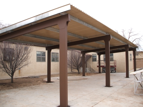 Rader awning metal awnings carports for Steel shade structure design