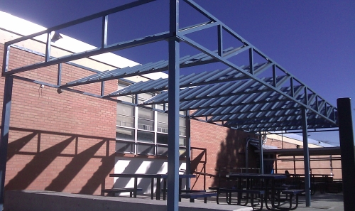 Metal Roof Panels on Steel Structure - Rader Awning