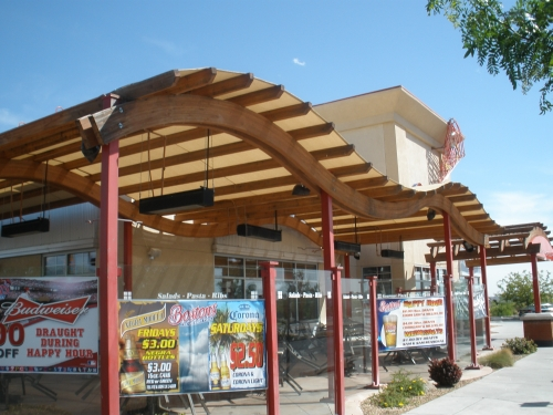 Wood Structure with Awntex Shade Fabric - Rader Awning