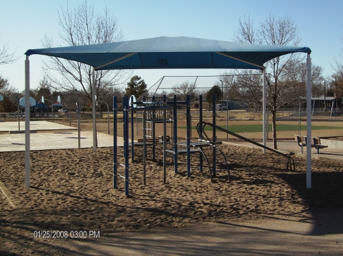 Steel Shade Structure with Cool-A-Roo Fabric - Rader Awning