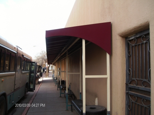 Standard Slope Awning with Rigid Valance and decorative sides - Rader Awning