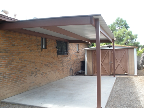 Metal Roof Panel with C-Purlin Frame and Steel Posts - Rader Awning - Rader Awning: METAL AWNINGS AND PATIO COVERS