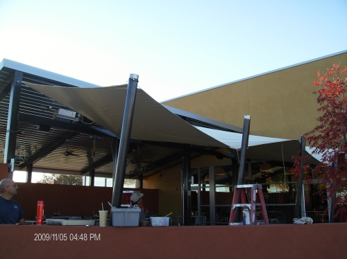 Multi-Point Shade Canopy with Perimeter Cable - Rader Awning