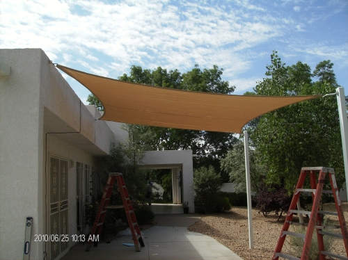 Square Shade Sail with Perimeter Cable - Rader Awning