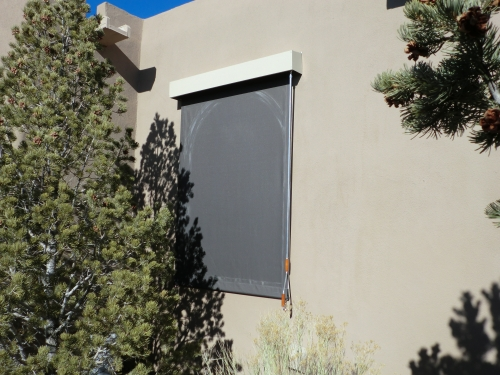 Vertical Roll Curtain with exterior hood - Rader Awning